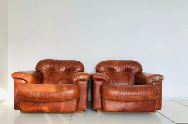 Vintage Brown Leather Chairs, 1970s, Set of 2