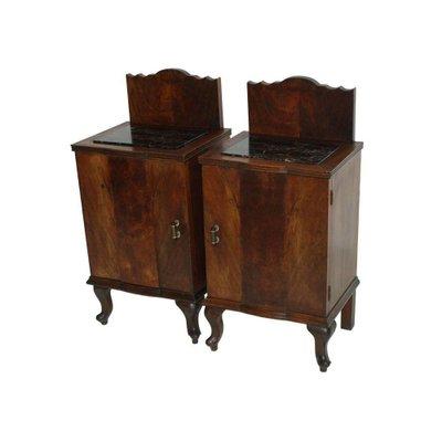 Comodini antichi in legno di noce e marmo nero, set di 2 in vendita ...