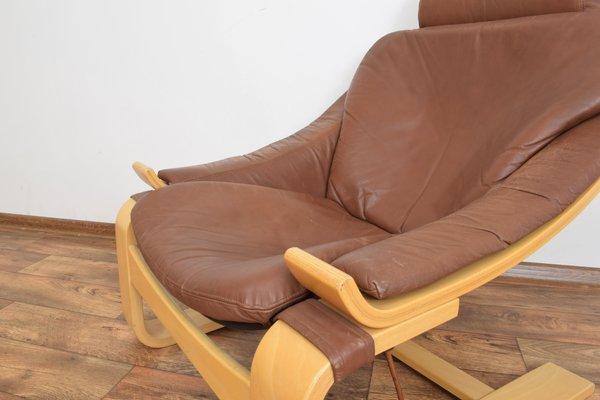 Kroken Leather Lounge Chair by Åke Fribyter for Nelo Möbel, 1970s