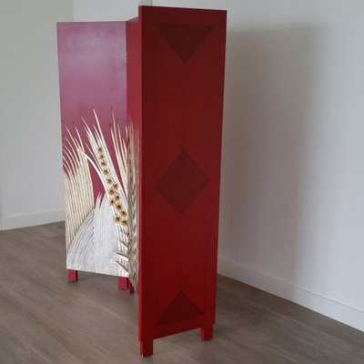Art Deco Style Wooden Folding Screen Room Divider 1970s