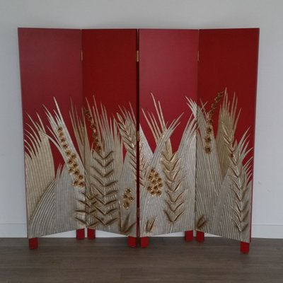 Art Deco Style Wooden Folding Screen Room Divider 1970s 2