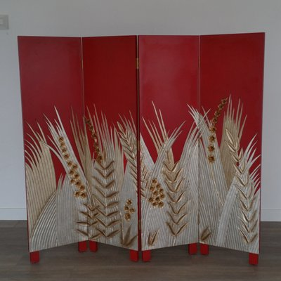 Groovy Art Deco Style Wooden Folding Screen Room Divider 1970S For Interior Design Ideas Tzicisoteloinfo