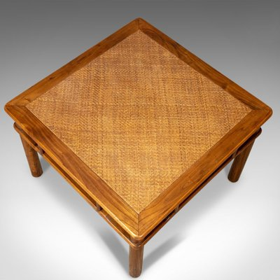 Late 20th Century Chinese Elm And Rattan Coffee Table For Sale At Pamono