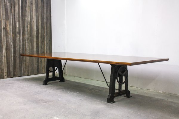 Large Walnut Industrial Table 1950s For Sale At Pamono