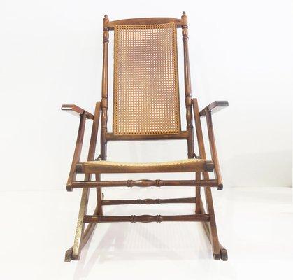 Mid Century Cane Folding Rocking Chair 1950s 2
