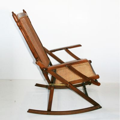 Surprising Mid Century Cane Folding Rocking Chair 1950S Creativecarmelina Interior Chair Design Creativecarmelinacom