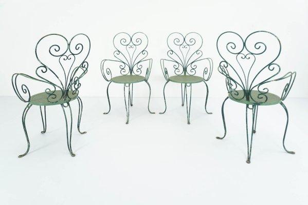 Set Sedie Da Giardino.Sedie Da Giardino Vintage Italia Anni 50 Set Di 4 In Vendita