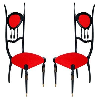 Attirant Ebonized Walnut Chiavarine Eclectic Chairs By Carlo Mollino, 1930s, Set Of 2