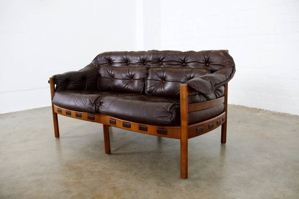 Mid-Century Teak & Leather 2-Seater Sofa by Arne Norell for Coja for ...