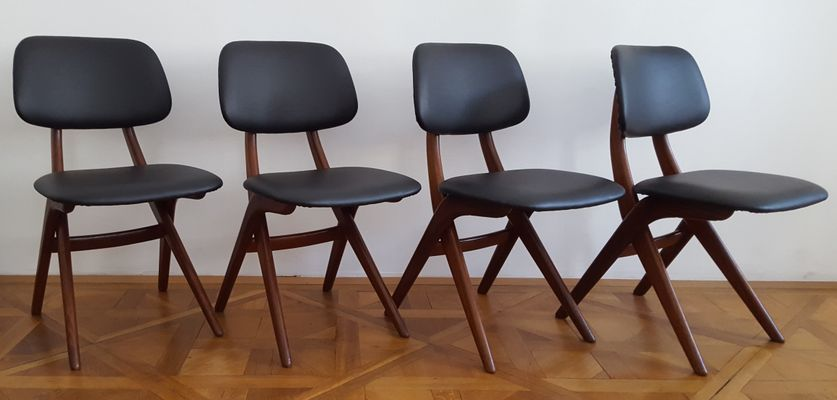 Dining Table Chairs by Louis van Teeffelen for Webe, 1950s, Set of 4