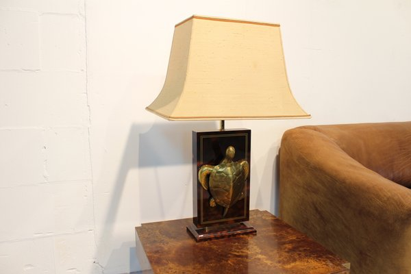 Faux Tortoiseshell Table Lamp with Brass Turtle, 1970s