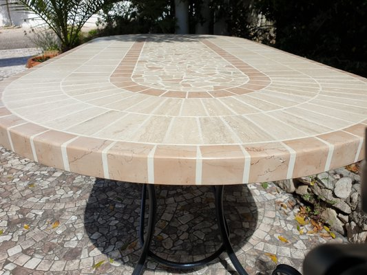 Oval Rubino Marble Mosaic Table from Egram