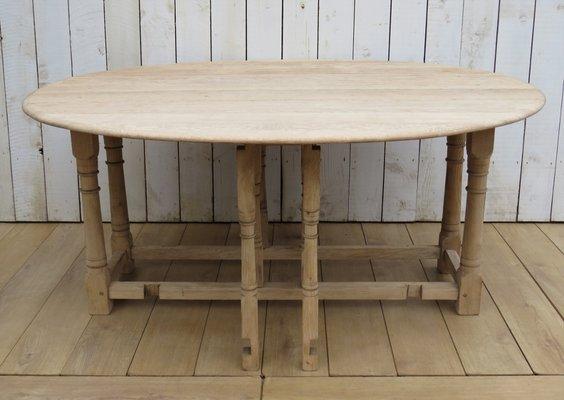 Bleached Oak Drop Leaf Dining Table 1950s