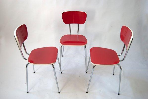 Sedie Cucina Anni 50.Tavolo Da Cucina In Formica Rossa Con Tre Sedie Anni 60