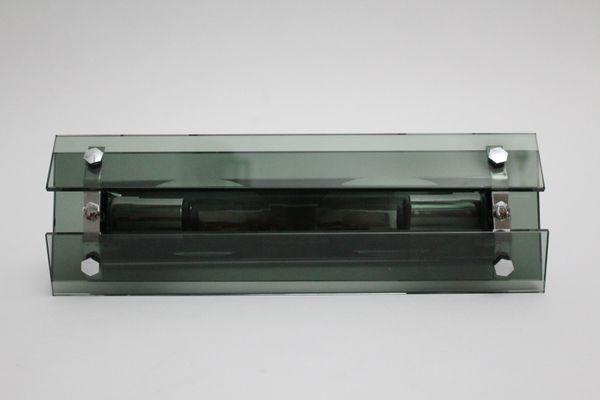 Applique in vetro fumé e metallo cromato anni 70 in vendita su pamono