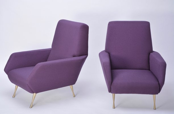 Merveilleux Italian Purple Upholstered Lounge Chairs, 1950s, Set Of 2 1