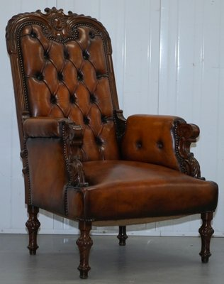 Victorian Chesterfield Leather Armchairs 1840s Set Of 2 For Sale