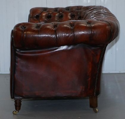 Small Victorian Whisky Brown Leather Chesterfield Sofa 4
