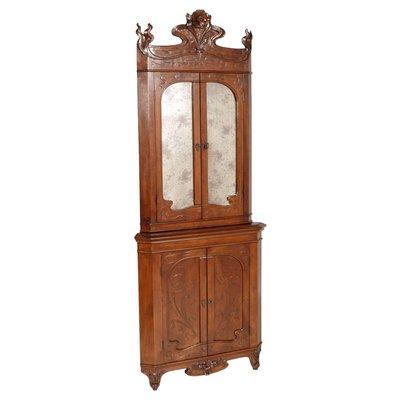 Mobile Ad Angolo Legno.Mobile Ad Angolo Antico Art Nouveau In Legno Di Noce Intagliato Di