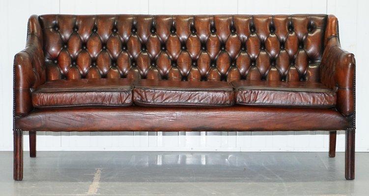 Vintage Leather Chesterfield Gun Suite 3 Seat Sofa Armchair Set