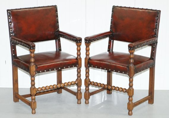 Astounding Brown Leather Solid Oak Dining Chairs 1900S Set Of 8 Creativecarmelina Interior Chair Design Creativecarmelinacom