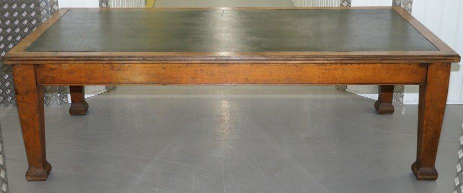 Mesa de comedor grande de roble macizo, década de 1900