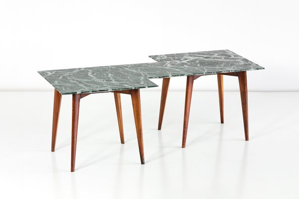 Geometric Verde Alpi Marble Coffee Table By Gio Ponti 1940s For