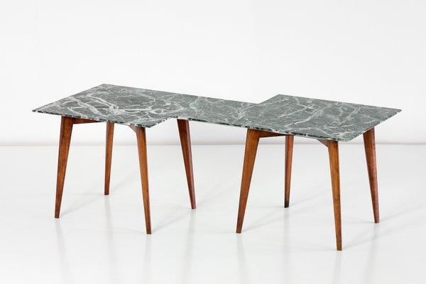 Geometric Verde Alpi Marble Coffee Table By Gio Ponti 1940s