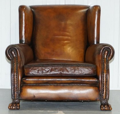 Terrific Victorian Brown Leather Wingback Chair 1860S Short Links Chair Design For Home Short Linksinfo