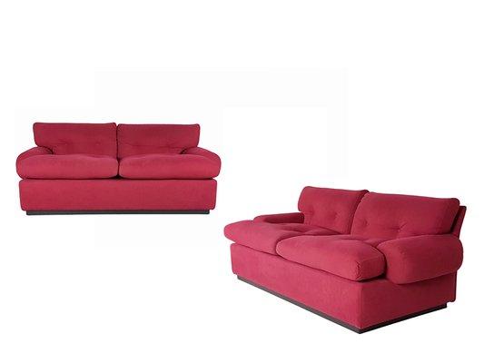 Crimson Alcantara Two-Seater Sofas by Osvaldo Borsani for Tecno ...