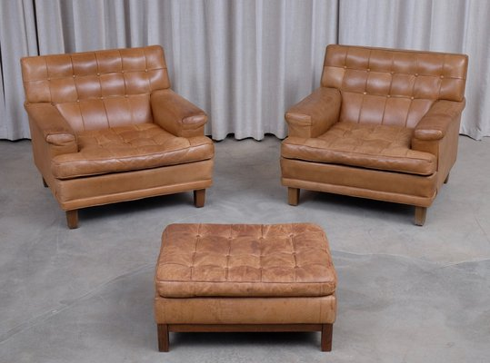 Swell Merkur Buffalo Leather Seating Set With 2 Club Chairs Ottoman By Arne Norell 1960S Set Of 3 Alphanode Cool Chair Designs And Ideas Alphanodeonline