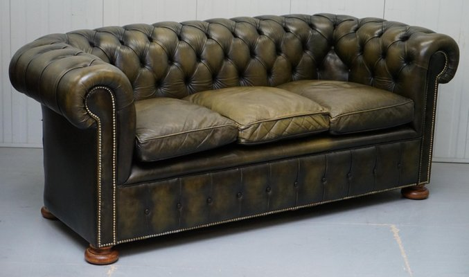 Chesterfield Leather Sofas with Feather Cushions, 1950s, Set of 2 ...