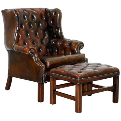 Vintage Chesterfield Wingback Armchair Footstool Set For Sale At