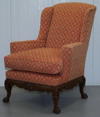 Antique 19th Century Chippendale Style Wingback Armchair For Sale At