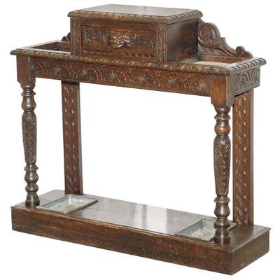 Portaombrelli antico in legno di quercia massiccio intagliato, Regno ...