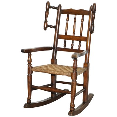 Amazing Small Antique Georgian Elm Childrens Rocking Chair With Rope Seat Spiritservingveterans Wood Chair Design Ideas Spiritservingveteransorg