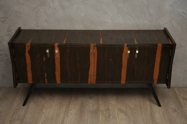 Mid Century Macassar Glass Brass Italian Sideboard 1950s For Sale