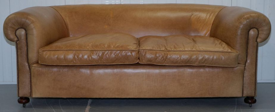 Vintage Victorian Style Brown Leather Sofa 1930s 19