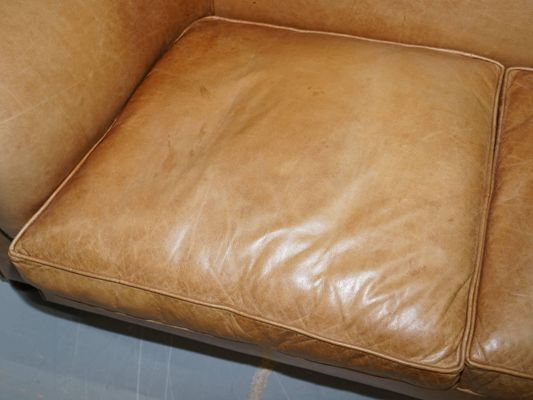 Vintage Victorian Style Brown Leather Sofa 1930s
