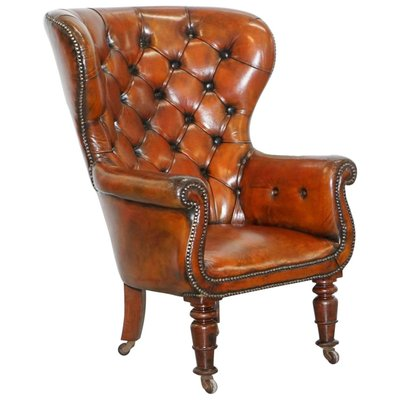 Antique Chesterfield Brown Leather Chair 1