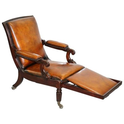 Beau William IV Reclining Brown Leather Armchair With Built In Footstool