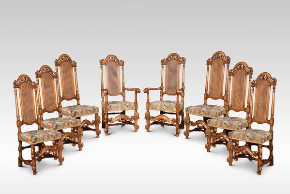 Antike Stühle mit hoher Lehne im Caroleanischen Stil, 8er Set