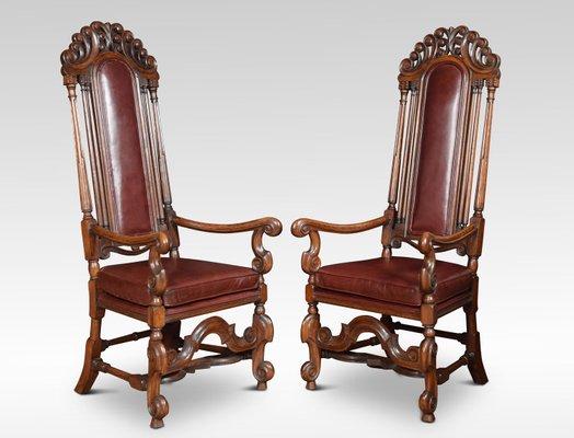 Antique Oak High Back Armchairs Set Of