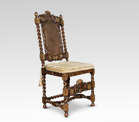 Antique Gilded Walnut High Back Chairs, Set Of 8