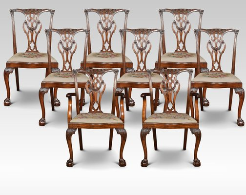 Wondrous Antique Chippendale Dining Chairs Set Of 8 Pabps2019 Chair Design Images Pabps2019Com