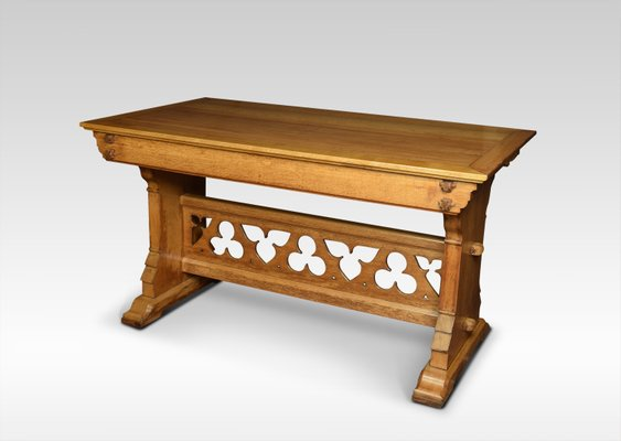 Antique Gothic Oak Hall Table 1