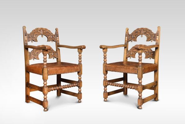 Antique Leather & Oak Dining Chairs, Set of 12