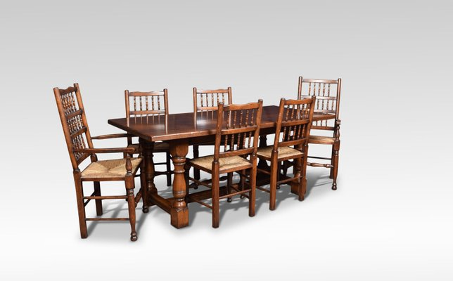 Vintage Solid Oak Refectory Dining Table And Chairs Set Of 7