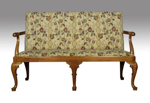 Antique Walnut Framed Queen Anne Style Settees Set Of 2 1