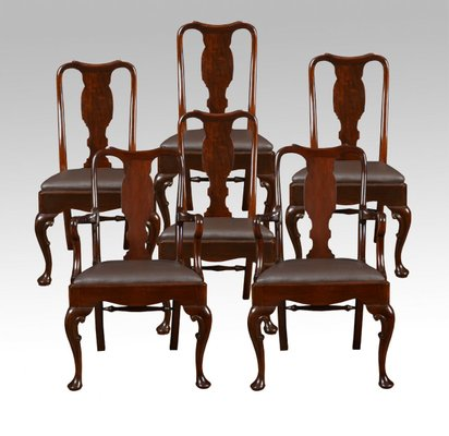 Marvelous Antique Queen Anne Style High Back Dining Chairs Set Of 6 Theyellowbook Wood Chair Design Ideas Theyellowbookinfo